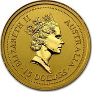 Australia 15 Dollars Lunar Tiger 1998 KM# 506 ELIZABETH II AUSTRALIA 15 DOLLARS RDM coin obverse