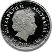 Australia 15 Dollars Single koala on branch 2004 Proof KM# 931 ELIZABETH II AUSTRALIA 15 DOLLARS coin obverse