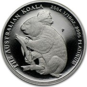 Australia 15 Dollars Single koala on branch 2004 Proof KM# 931 THE AUSTRALIAN KOALA 2004 1/10OZ. 9995 PLATINUM coin reverse