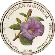 Australia 15 Dollars Sturt's desert rose 2006 Proof KM# 982 DISCOVER AUSTRALIA 1/10 OZ PLATINUM 9995 2006 STURT'S DESERT ROSE coin reverse
