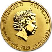 Australia 15 Dollars Year of the Mouse 2008 KM# 1890 ELIZABETH II AUSTRALIA 1/10 OZ 9999 GOLD 2008 15 DOLLARS IRB coin obverse