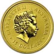Australia 15 Dollars Year of the Rooster 2005 P Proof KM# 794a ELIZABETH II AUSTRALIA 15 DOLLARS coin obverse