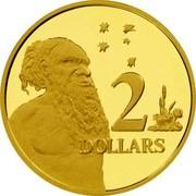 Australia 2 Dollars Aboriginal Elder 2001 B Proof KM# 406a 2 DOLLARS coin reverse