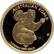 Australia 2 Dollars Australian Koala 2013 KM# 2078 AUSTRALIAN KOALA 0.5 GRAM 9999 GOLD P coin reverse