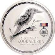 Australia 2 Dollars Australian Kookaburra 2003 World War II 1939 - 1945 KM# 879 AUSTRALIAN KOOKABURRA 2003 2 OZ. 999 SILVER coin reverse