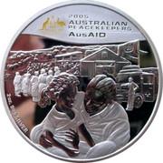 Australia 2 Dollars Australian Peacekeepers 2005 KM# 759 2005 AUSTRALIAN PEACEKEEPERS AUSAID 2 OZ. 999 SILVER P coin reverse
