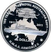 Australia 2 Dollars HMAS Armidale II 2011 KM# 1632 100 YEARS OF THE ROYAL AUSTRALIAN NAVY H.M.A.S. ARMIDALE II 1911 2011 2 DOLLARS coin reverse