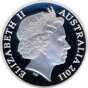 Australia 2 Dollars HMAS Hobart II 2011 KM# 1629 ELIZABETH II AUSTRALIA 2011 IRB coin obverse