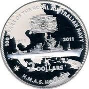Australia 2 Dollars HMAS Hobart II 2011 KM# 1629 100 YEARS OF THE ROYAL AUSTRALIAN NAVY H.M.A.S. HOBART II 1911 2011 2 DOLLARS coin reverse