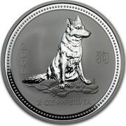 Australia 2 Dollars Lunar Dog 2006 KM# 1884 2006 2 OZ 999 SILVER coin reverse