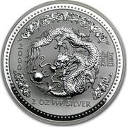 Australia 2 Dollars Lunar Dragon 2000 KM# 523 2000 2 OZ 999 SILVER coin reverse