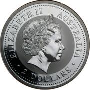 Australia 2 Dollars The Australian Kookaburra 2001 KM# 623.2 ELIZABETH II AUSTRALIA 2 DOLLARS IRB coin obverse