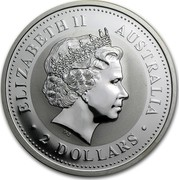 Australia 2 Dollars The Australian Kookaburra 2001 KM# 623.1 ELIZABETH II AUSTRALIA 2 DOLLARS IRB coin obverse