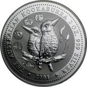 Australia 2 Dollars The Australian Kookaburra 2001 KM# 623.2 THEAUSTRALIAN KOOKABURRA 2 OZ. 999 SILVER 2001 coin reverse