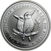 Australia 2 Dollars The Australian Kookaburra 2001 KM# 623.1 THE AUSTRALIAN KOOKABURRA 2 OZ. 999 SILVER 2001 coin reverse