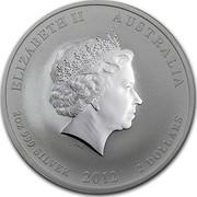 Australia 2 Dollars Year of the Dragon 2012 KM# 1665 ELIZABETH II AUSTRALIA 2 OZ 999 SILVER 2012 2 DOLLARS IRB coin obverse