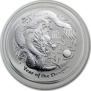 Australia 2 Dollars Year of the Dragon 2012 KM# 1665 YEAR OF THE DRAGON P coin reverse
