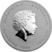 Australia 2 Dollars Year of the Mouse 2008 KM# 1886 ELIZABETH II AUSTRALIA 2 OZ 999 SILVER 2008 2 DOLLARS IRB coin obverse