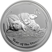 Australia 2 Dollars Year of the Mouse 2008 KM# 1886 YEAR OF THE MOUSE P coin reverse