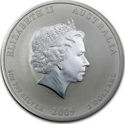 Australia 2 Dollars Year of the Ox (Colorized) 2009 KM# 1751a ELIZABETH II AUSTRALIA 2 OZ 999 SILVER 2009 2 DOLLARS IRB coin obverse