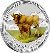 Australia 2 Dollars Year of the Ox (Colorized) 2009 KM# 1751a YEAR OF THE OX P coin reverse