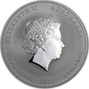 Australia 2 Dollars Year of the Snake (Colorized) 2013 KM# 1833a ELIZABETH II AUSTRALIA 2 OZ 999 SILVER 2013 2 DOLLARS IRB coin obverse