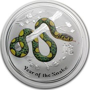 Australia 2 Dollars Year of the Snake (Colorized) 2013 KM# 1833a YEAR OF THE SNAKE P coin reverse