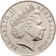 Australia 20 Cents 100th Anniversary of the Taxation Office 2010 KM# 1513 ELIZABETH II AUSTRALIA 2010 IRB coin obverse