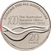 Australia 20 Cents 100th Anniversary of the Taxation Office 2010 KM# 1513 WORKING FOR ALL AUSTRALIANS 100 THE AUSTRALIAN TAXATION OFFICE CENTENARY 2010 20 CENTS coin reverse
