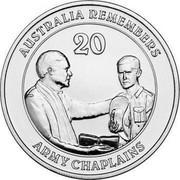 Australia 20 Cents Army Chaplains 2013 KM# 1967 AUSTRALIA REMEMBERS 20 ARMY CHAPLAINS coin reverse