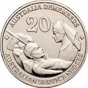 Australia 20 Cents Australia Remembers - Australian Service Nurses 2009 KM# 1433 + AUSTRALIA REMEMBERS + 20 AUSTRALIAN SERVICE NURSES coin reverse
