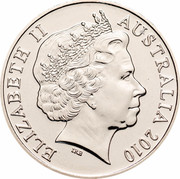 Australia 20 Cents Australia Remembers - Lost Soldiers of Fromelles 2010 KM# 1518 ELIZABETH II AUSTRALIA 2010 IRB coin obverse