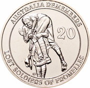 Australia 20 Cents Australia Remembers - Lost Soldiers of Fromelles 2010 KM# 1518 AUSTRALIA REMEMBERS 20 G LOST SOLDIERS OF FROMELLES coin reverse