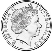 Australia 20 Cents Australian Banknotes 2013 KM# 1962 ELIZABETH II AUSTRALIA 2013 IRB coin obverse