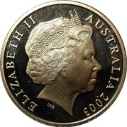 Australia 20 Cents Australian Volunteers 2003 B Proof KM# 688A ELIZABETH II AUSTRALIA 2003 coin obverse