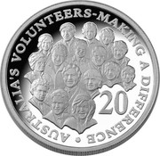 Australia 20 Cents Australian Volunteers 2003 B Proof KM# 688A AUSTRALIA'S VOLUNTEERS-MAKING A DIFFERENCE coin reverse