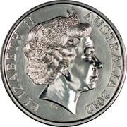 Australia 20 Cents Bombing of Australia 1942 2012 Proof KM# 1743a ELIZABETH II AUSTRALIA 2012 coin obverse