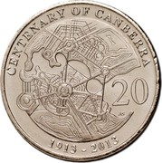 Australia 20 Cents Centenary of Canberra 2013 KM# 2080 CENTENARY OF CANBERRA 20 AS 1913-2013 coin reverse
