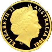 Australia 20 Cents Centenary of Federation 2001 Proof KM# 819 ELIZABETH II AUSTRALIA 2001 coin obverse