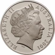 Australia 20 Cents (Centenary of Federation - Norfolk Island) KM# 532 ELIZABETH II AUSTRALIA 2001 IRB coin obverse