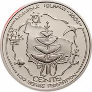 Australia 20 Cents (Centenary of Federation - Norfolk Island) KM# 532 NORFOLK ISLAND -2001- MC 20 CENTS 100 YEARS FEDERATION coin reverse