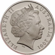 Australia 20 Cents (Centenary of Federation - Queensland) KM# 554 ELIZABETH II AUSTRALIA 2001 IRB coin obverse