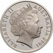 Australia 20 Cents (Centenary of Federation - Tasmania) KM# 564 ELIZABETH II AUSTRALIA 2001 IRB coin obverse