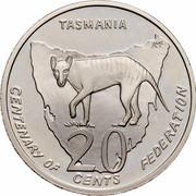 Australia 20 Cents (Centenary of Federation - Tasmania) KM# 564 TASMANIA AM 20 CENTS CENTENARY OF FEDERATION coin reverse