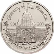 Australia 20 Cents (Centenary of Federation - Victoria) KM# 556 CENTENARY OF FEDERATION 1901 2001 RDL MAK 20 CENTS coin reverse