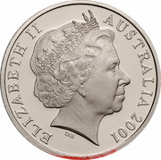 Australia 20 Cents (Centenary of Federation - Western Australia) KM# 562 ELIZABETH II AUSTRALIA 2001 IRB coin obverse