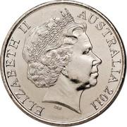 Australia 20 Cents International Women's Day 2011 KM# 1642 ELIZABETH II AUSTRALIA 2011 IRB coin obverse