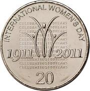 Australia 20 Cents International Women's Day 2011 KM# 1642 INTERNATIONAL WOMEN'S DAY CELEBRATING 100 YEARS 1911 2011 20 coin reverse