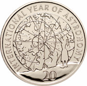 Australia 20 Cents (International Year of Astronomy) KM# 1075 INTERNATIONAL YEAR OF ASTRONOMY 20 coin reverse