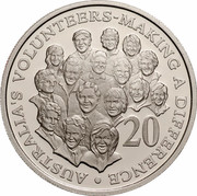 Australia 20 Cents (Making a Difference - Australian Volunteers) KM# 688 AUSTRALIA'S VOLUNTEERS MAKING A DIFFERENCE 20 coin reverse